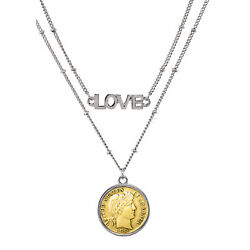New Gold Layered Silver Barber Dime Coin Double Strand Love Necklace 14869