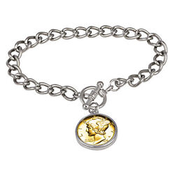 New 24kt Gold Plated Silver Mercury Dime Silvertone Coin Toggle Bracelet 15318
