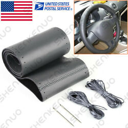 Leather Steering Wheel Cover For Car Suv Truck Medium 14.5-15 Black Us