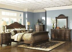 5 PC Formal Bedroom Set Mirror with Dresser 2 Night Stands Queen King Sleigh Bed
