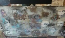 Giant 7ft Framed Abstract Gilt Collage With Neoclassical Japanese Chinese Motifs