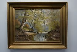 August Jacobsen Forest Scenery With Quite Stretch Of River. Ca. 1900