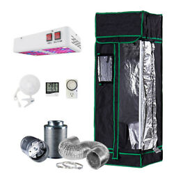 1.3'x1.3' Grow Tent Kit W/ 300w Led Light And Fan + Carbon Filter Combo 16x16x48