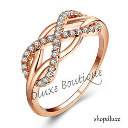 Womenand039s Rose Gold Plated Infinity Knot Friendship Love Promise Ring Size 5-10