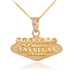 10k Yellow Gold Las Vegas Welcome Sign Reversible Charm Necklace