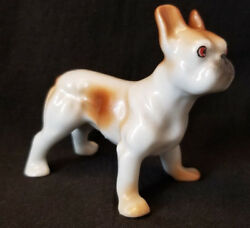 VTG French Bulldog Dog Figurine Porcelain Ceramic  Figure Brown White Japan