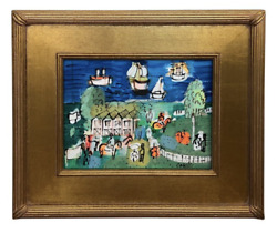 Charles Cobelle Signed Farm By The Sea Painting
