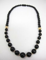 14k Gold Graduated Black Lucite Beaded Necklace