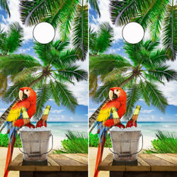Tropical Beach W/ Parrot Scene Cornhole Wrap Wraps Set Vinyl Board Decal V2/v2