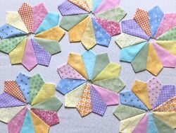 Dresden Plate Quilt Blocks Colors No Outside Rawedges 100 Cotton Set Of 12.