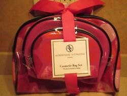 Adrienne Vittadini Cosmetic Bag Set of 3 Red  pink nylon Vinyl make up bags