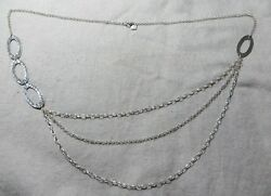 Silpada N1720 Sterling Triple Chain Hammered Oval Link 32 Long Necklace Retired