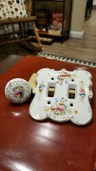 Porcelain Double Light Switch Cover Floral Switch Plate and Door Handle Japan