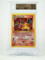 BGS 9.5 GEM MINT 1ST EDITION BASE SHADOWLESS CHARIZARD THICK STAMP POKEMON 4102