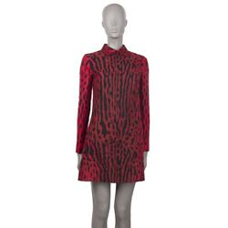 55080 Auth Valentino Red Leopard Cotton Shirt Dress 40 S