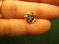 5 Of 5, Bright Vtg Antique 14k Yellow Gold And Enamel Knights Of Columbus Pin