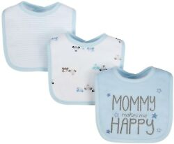 GERBER WONDER NATION 3 Pack Baby Boy#x27;s Bibs Blue Puppies One Size Fits All