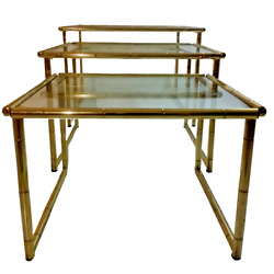 Set Of Three Gilded Italian Brass Nesting End Tables 70and039s Vintage Design