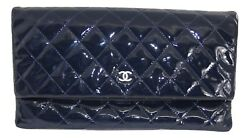 CHANEL Clutch Navy Blue Patent Leather Diamond Quilted CC Fold Over AUTHENTIC
