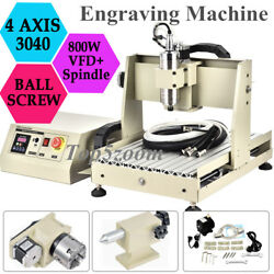 4 Axis CNC3040T 800W VFD Router 3D Engraver Engraving Drilling Milling Machine