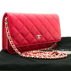 CHANEL Authentic Red Pink Wallet On Chain WOC Shoulder Bag Crossbody Clutch p19