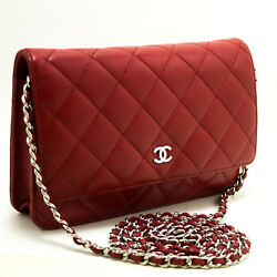 CHANEL Authentic Red Wallet On Chain WOC Shoulder Bag Crossbody Clutch Lamb n74