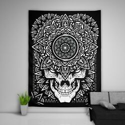 Skull Black Tapestry Art Wall Hanging Sofa Table Bed Cover Poster