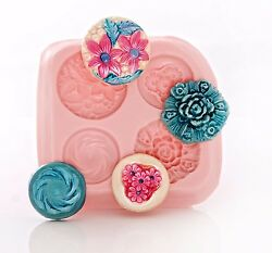 Victorian Button Silicone Mold Food Safe Fondant Chocolate Mint Resin Clay 770