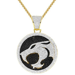 Sterling Silver Thunder Cat Black Circle Pendant Gold Finish Free Chain