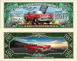 1957 Red Chevy Belair Dollar Bill Play Funny Money Novelty With Free Sleeve
