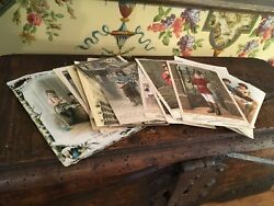 32 French Pictorial Cards Antique Vintage Postcards Stamped Advertising Cards