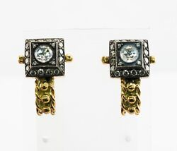 Diamonds Earrings 18k Gold And Sterling Silver Vintage
