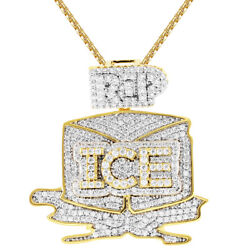 Menand039s Ice Gang Sterling Silver Pendant Gold Finish Free Necklace 24