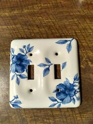 Set of 5 Vintage Porcelain Light Switch Plates Cover Floral blue and white
