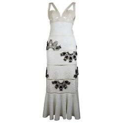 ALEXANDER MCQUEEN White Python Dress with Mirror Embellishments SS15 Size 2 US