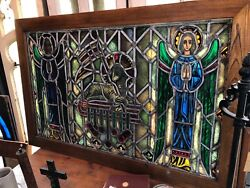Vintage Ecclesiastical Stained Glass Lamb Of God Angles Stained Glass Window