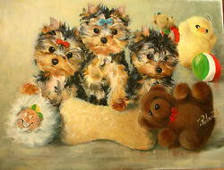 Yorkshire Terrier pups playing original oil painting on canvas by Roberta C