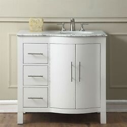 36-inch Marble Stone Counter Top Bathroom Vanity Single Right Sink Cabinet 0290w
