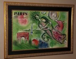 Marc Chagall Original Lithographic Poster Romeo Juliet  Large SIGNED RARE!