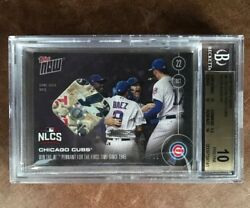 2016 Topps Now 615d Base Relic 1/25 Bgs 10 Chicago Cubs Wins Nlcs Pennant