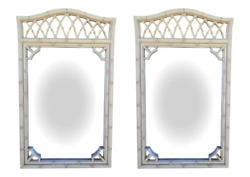 Pair Of Vintage Faux Bamboo Fretwork Mirrors Chinese Chippendale Allegro 52 X 31