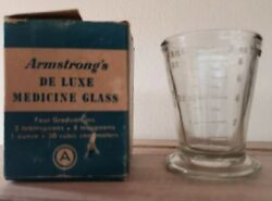 Vintage Armstrong Cork Co. Etched Deluxe Medicine Glass With Four Graduations