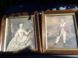Two Framed Victorian Style Pictures Nice Decor Wall Hanging Woman Child Old