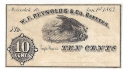 1863 W.f. Reynolds And Co Ten Cent Remainder Note H253-2