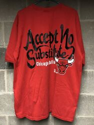 Vintage Chicago Bulls The Game Shirt Red XL Michael Jordan Substitute 90s NBA