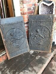 Antique cast-iron Fireback with children and duck And Turtle21.5 x 35 2 Avail