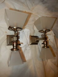 Mission Arts And Crafts Gas And Electric Combination Brass Sconces Etched Shades