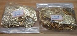 Wholesale Lot Of 200 Coat Of Arms Gold Tone Metal Charms Craft Jewelry Findings