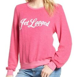 Wildfox Couture Womenand039s Pink Jet Lagged Baggy Beach Pullover Jumper Size M