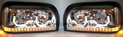 Pair Chrome Headlights W/ Led Turn Signal And Light Bar For Freightliner Century